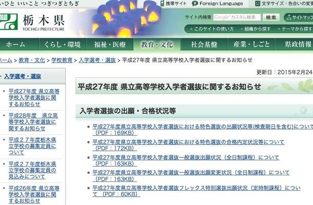 【高校受験2015】栃木県立高校出願状況(確定)、宇都宮は1.35倍