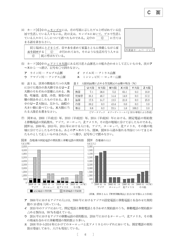 2016年度 大阪府公立高校入試(社会・問題)6/8