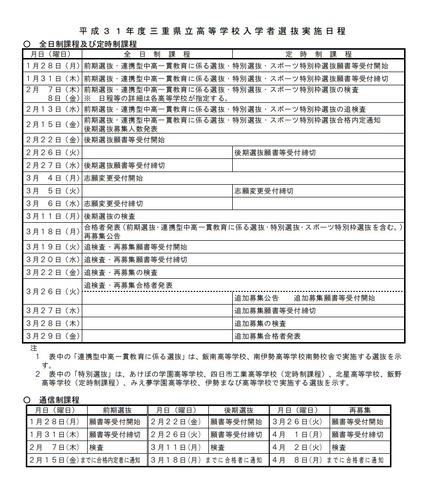 高校受験2019】三重県立高校入試の日程、後期選抜の学力検査は3/11 ...