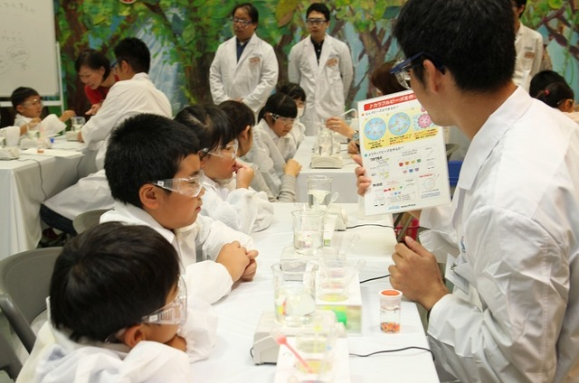 「化学の日子ども化学実験ショー2017」のようす