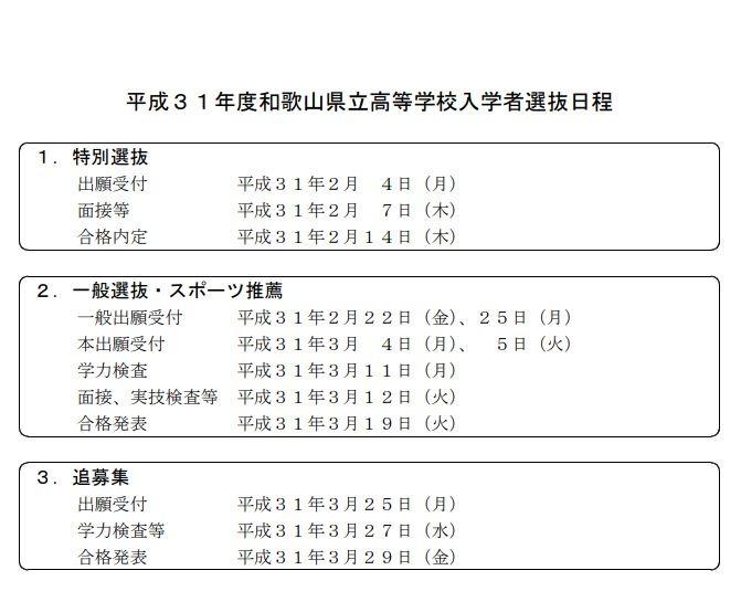 県立 高校 入試 和歌山