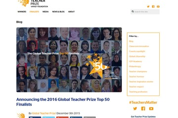 Varkey Foundation「the 2016 Global Teacher Prize Top 50」