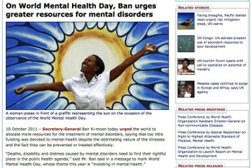 On World Mental Health Day, Ban urges greater resources for mental disorders (UN)