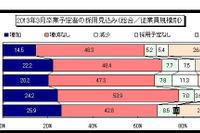 主要企業の2013卒生の採用見込み、「増加」が22.2% 画像