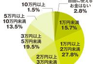 自由に使えるのは月23,857円、15%が5万円以上…大学生のお財布事情 画像