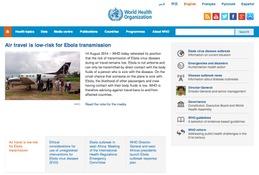 エボラ出血熱、飛行機での感染の可能性は低いとWHOが発表