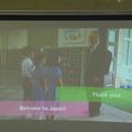 2時間目の授業。外国人をお出迎えするシーンがビデオで流れた