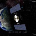 今回追加された小惑星探査機「はやぶさ2」の立体モデル。2015年12月3日の地球スイングバイも再現。