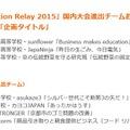 「Social Innovation Relay 2015」国内大会進出チームおよび受賞チーム