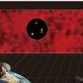 モヤモヤとした赤外線放射が、今回のアルマ望遠鏡を用いた研究により個別の天体に分解された様子のイメージイラスト