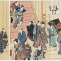 歌川国貞 「踊形容楽屋之図 踊形容新開入之図」 Museum of Fine Arts, Boston. William Sturgis Bigelow Collection, 11.28578-80, 11.28581-3 Photograph (c) Museum of Fine Arts, Boston