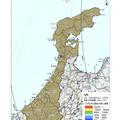 石川県内の地表面へのセシウム134、137の沈着量の合計