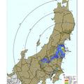 文部科学省がこれまでに測定してきた範囲(11月11日改訂版)及び 愛知県、青森県、石川県、及び福井県内の地表面における セシウム134、137の沈着量の合計