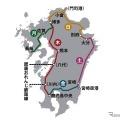 木曜から月曜にかけて九州全県を巡る『36ぷらす3』のルート。各日とも日中に走行し、門司港駅を除くルートに記載された各駅で乗降できる。運行は年間45週程度を予定している。