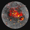 メッセンジャーが観測した、水星の北極地方の地形図。赤い部分が日陰。 NASA/Johns Hopkins University Applied Physics Laboratory/Carnegie Institution of Washington/National Astronomy and Ionosphere Center, Arecibo Observatory.