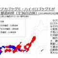 セアカゴケグモ・ハイイロゴケグモが確認された都道府県(2014年8月29日現在)