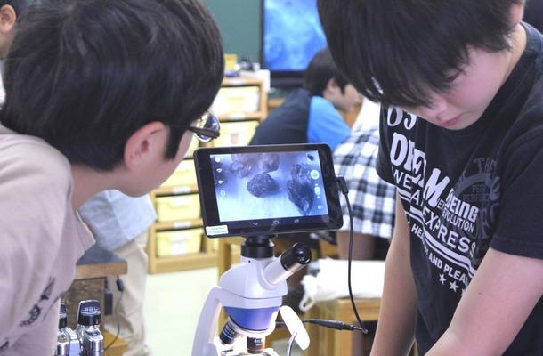 デジタル顕微鏡で観察する生徒たち