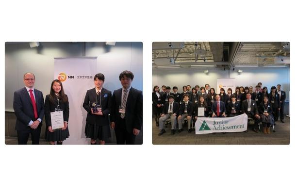 左:優勝した京都市立堀川高校「sunflower」/右:集合写真