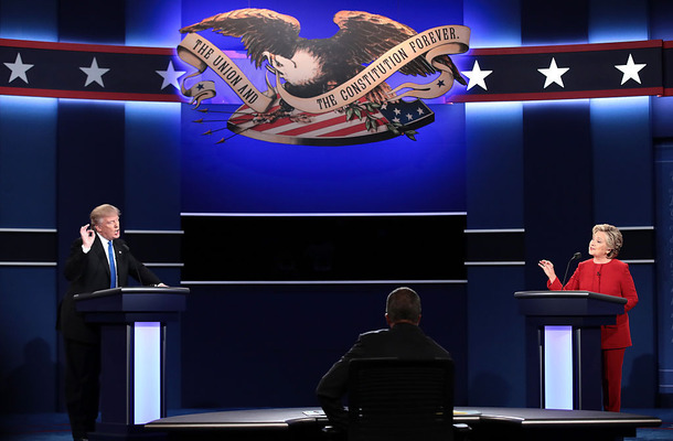 Hillary Clinton And Donald Trump Face Off In First Presidential Debate At Hofstra University (Photo by Drew Angerer/Getty Images)