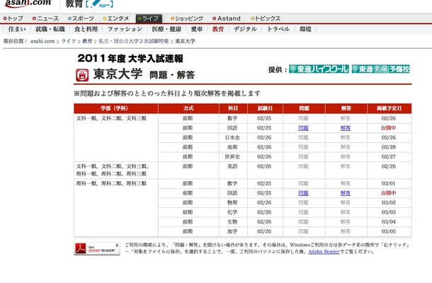 2011年度 大学入試速報 東京大学