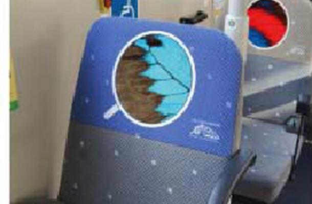 昆虫の一部分を印刷した座席カバー