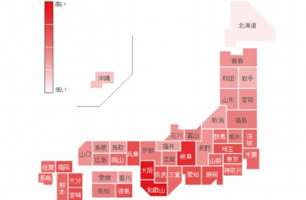 「インフルエンザ」の各都道府県別検索分布(1月13日~19日)