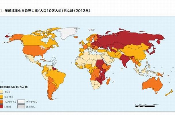 年齢標準化自殺死亡率(2012年)