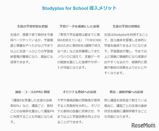 「Studyplus for School」導入メリット
