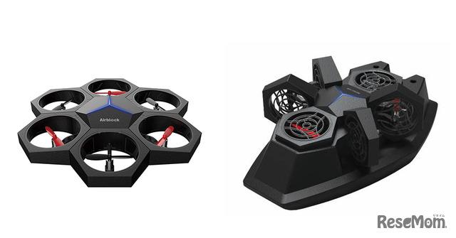 Makeblockシリーズの知育ドローン「Airblock」は、飛ばすことも、水上を走らせることもできる(左:ドローン型/右:ホバークラフト型)