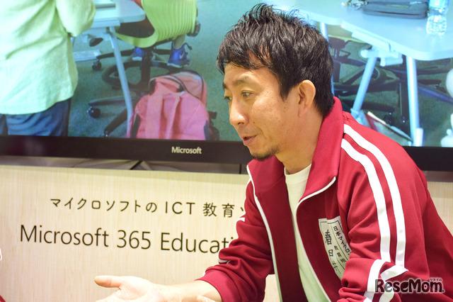 「子どもたちの学び方改革」と「教職員の働き方改革」について語る日本マイクロソフトの春日井良隆氏