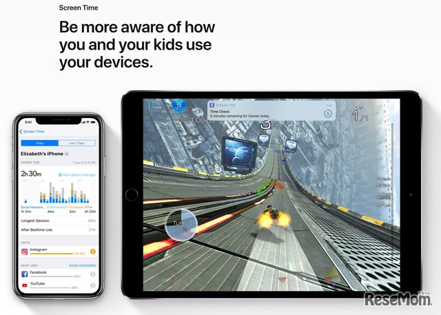 iOSから搭載される「Screen Time」 画像出典:iOS 12 Preview - Apple