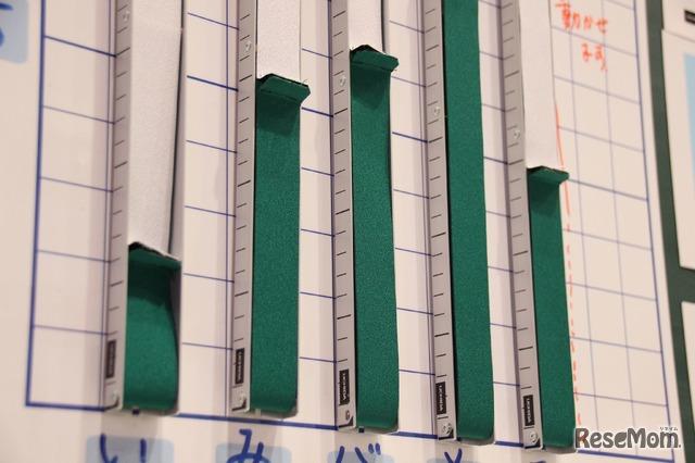 内田洋行「棒グラフシート」に貼り付けられた「可変棒グラフ」。マグネット式で取外しやすく、側面にはめもりを施した。布をつまみ上下させれば、簡単にグラフを調整できる