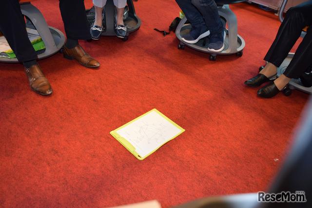 フューチャークラスルーム ライブ2018「スパイダー討論が教室を変える ~紙と鉛筆だけで生徒たちが「熱中する授業」をスタート!~」のようす…討論後、可視化された「クモの巣」を囲む