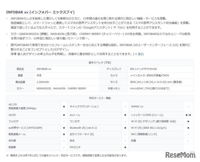 INFOBAR xv(インフォバー エックスブイ) 基本スペック・対応サービス