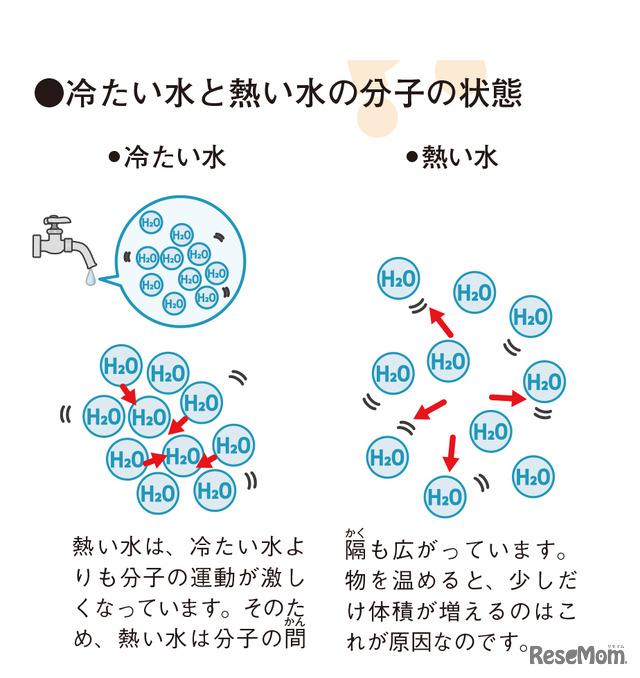 実験1 手順5 冷たい水と熱い水の分子の状態