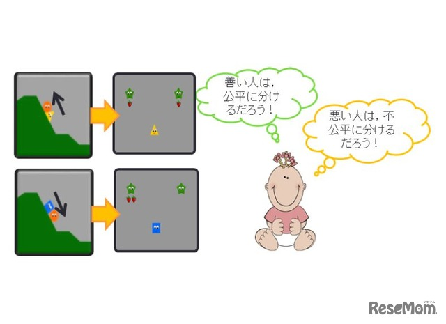 京都大学 研究成果 実験で赤ちゃんに見せた場面