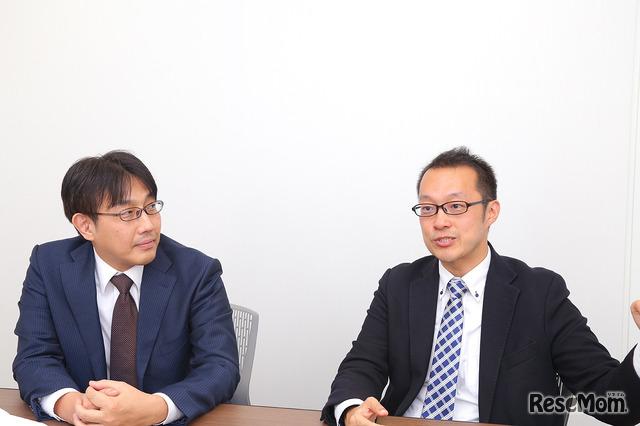 インタビューに答える秋山清輝氏(左)と金澤浩氏(右)