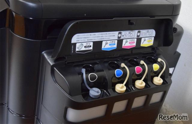 「EW-M5071FT」はボトル型のインクを使用。カラー3色は染料タイプ、黒は顔料インクを採用している。