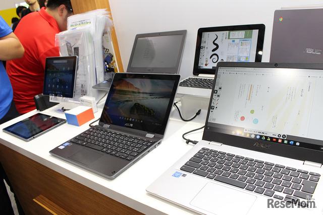 タブレットを含め、さまざまなラインアップを揃えるASUSのChromebook。人気が高いのは5万円代の機種とのこと。