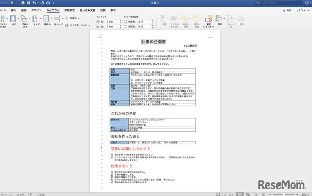 起業の際に学校に提出した事業計画書(当時のデータから再現)