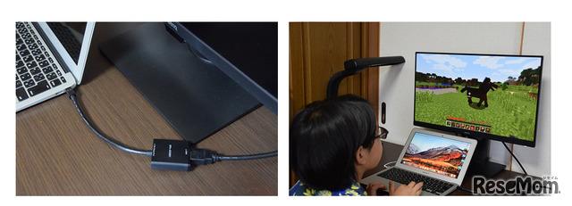MacBookAirのThunderbolt端子とHDMI変換コネクタを経由し、MacBookAirにつないだ。