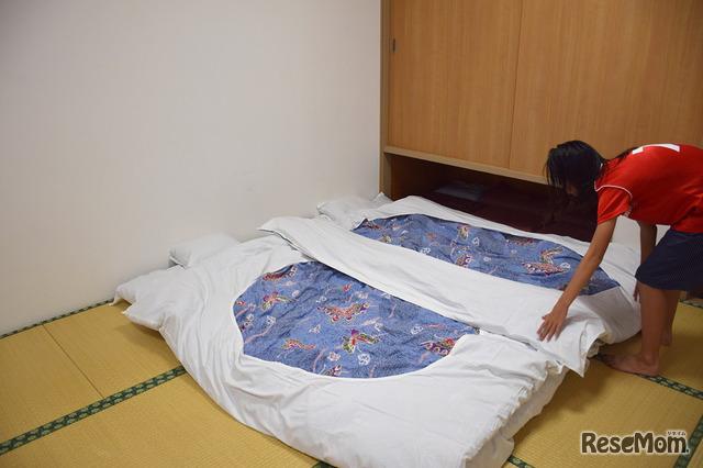 1日目終了、お布団を引いて就寝