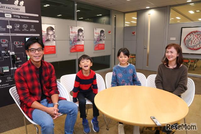 左よりTさん(父)、Sくん(小学3年生)、Kさん(小学5年生)、Wさん(母)