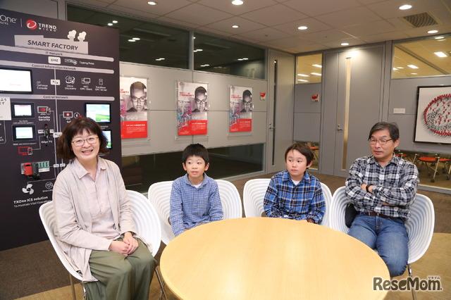 左よりHさん(母)Mくん(小学3年生)親子、Yくん(小学4年生)Kさん(父)親子