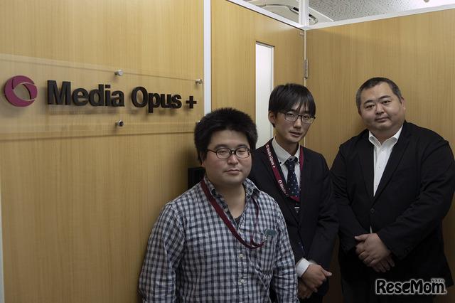 映像制作を担当するMOPの出井チーフ(左)岡本マネージャー(中)、圓林COO(右)