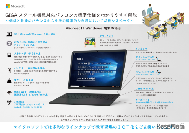 GIGAスクール構想標準仕様に対応したWindowsパソコンのスペック
