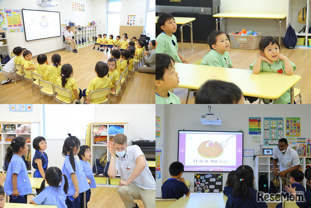 年少々から年長までのネイティブ教師による英語の授業風景