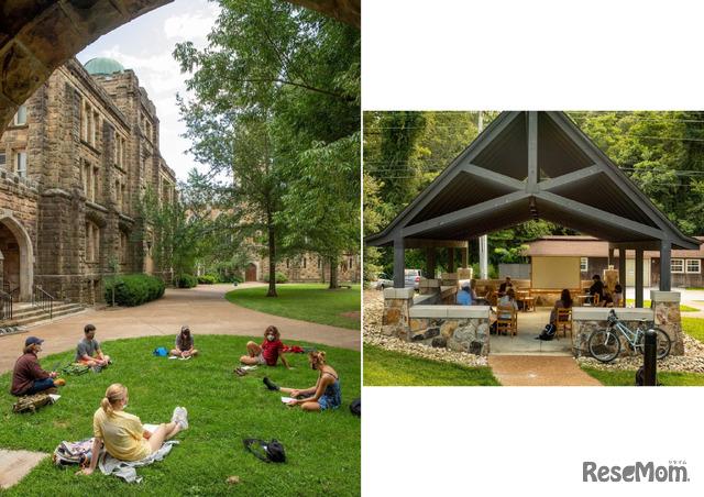 屋外ではテント以外の場所でも授業が行われる