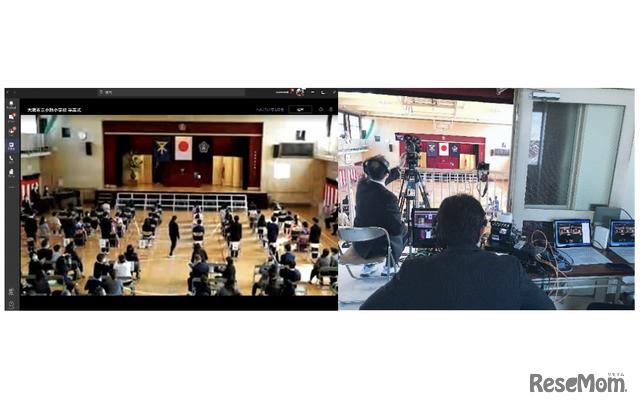 大阪市立小路小学校の卒業式ライブ配信のようす