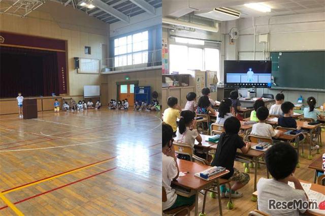 児童集会のようす。(左)担当児童が体育館からTeamsを使って配信、(右)児童たちは各教室で参加